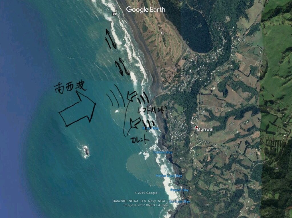 ムリワイビーチでサーフィン、詳細地図