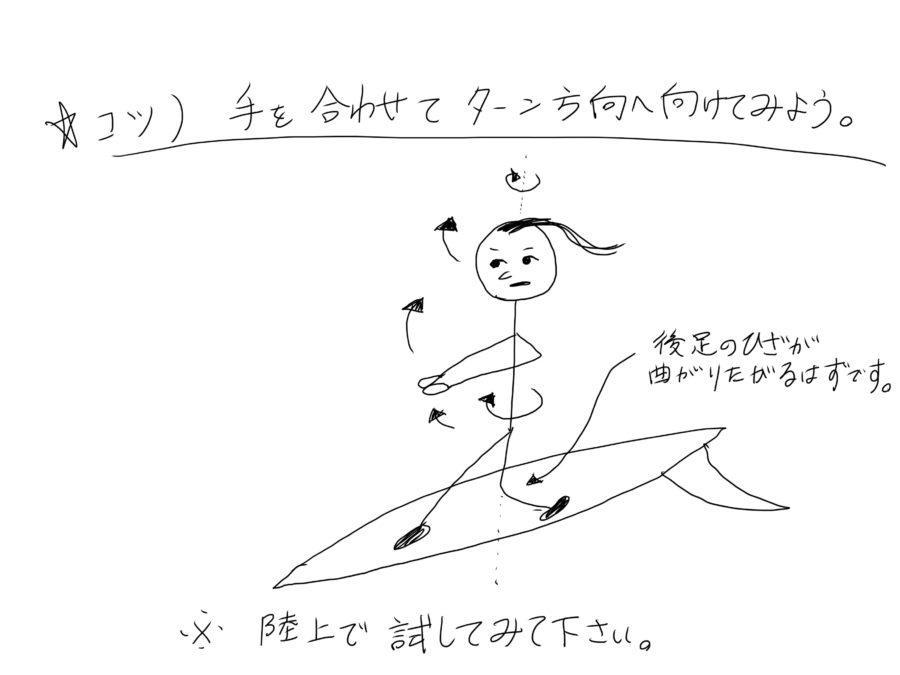 サーフィンのターンの動作を陸上で試してみましょう