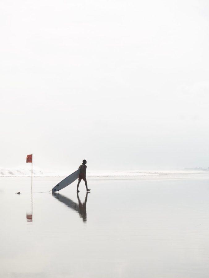 サーフボードを波に対して垂直にする
